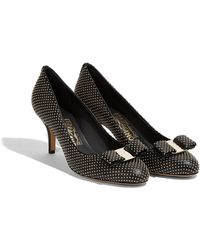 9cea83207b6e Ferragamo - Vara Bow Studded Pump Shoe - Lyst