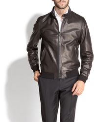 4380f4731cd0 Lyst - Ferragamo Leather Shirt Jacket in Black for Men