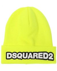 DSquared² - Fluo Yellow Beanie With Logo - Lyst