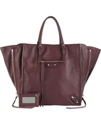 Balenciaga Papier A5 Zip Around Tote Bag Aubergine - Lyst
