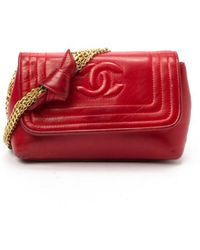 Chanel Preowned Red Lambskin Mini Chain Shoulder Bag - Lyst