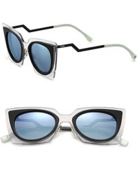 Fendi Zig-Zag 49Mm Cat'S-Eye Sunglasses - Lyst