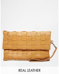 SELECTED - Weaved Leather Clutch - Lyst