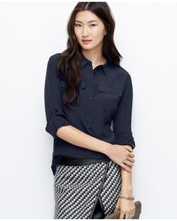 Ann Taylor Petite Silk Popover Shirt - Lyst