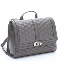 Rebecca Minkoff Grey Quilted Leather Love Convertible Backpack - Lyst