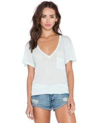 Wildfox Essential V Neck Tee blue - Lyst