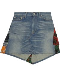 Junya Watanabe Patchwork Denim and Plaid Wool Mini Skirt - Lyst