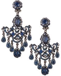 Jose & Maria Barrera Gunmetal & Blue Crystal Chandelier Clip-On Earrings blue - Lyst