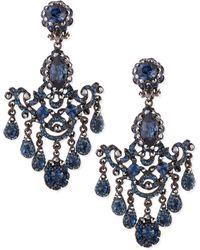 Jose & Maria Barrera Gunmetal & Blue Crystal Chandelier Clip-On Earrings - Lyst