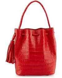 Nancy Gonzalez Medium Crocodile Tassel Bucket Bag - Lyst