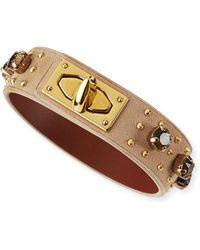 Givenchy Suede  Crystal Turn-lock Bracelet - Lyst