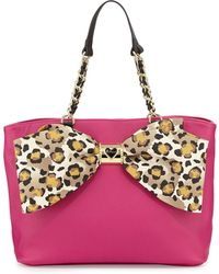 Betsey Johnson Large Tote with Bow Detail - Lyst