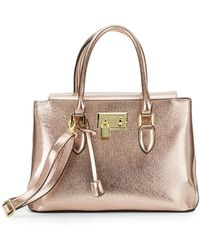 London Fog - Metallic Faux Leather Satchel - Lyst