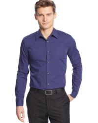 Calvin Klein Mini-stripe Poplin Slim-fit Shirt - Lyst