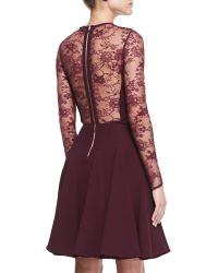 Elie Saab Sheer-Lace-Top Long-Sleeve Dress - Lyst