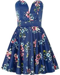Tfnc Strapless Floral Print Prom Style Dress - Lyst