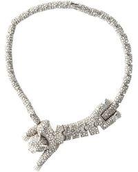 Roberto Cavalli Swarovski Cat Necklace - Lyst