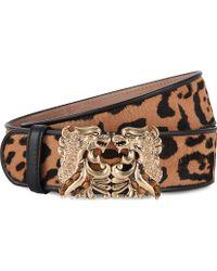 Roberto Cavalli Leopardprint Leather Belt Natural - Lyst