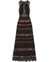 Elie Saab Paneled Lace and Cottonblend Georgette Gown - Lyst