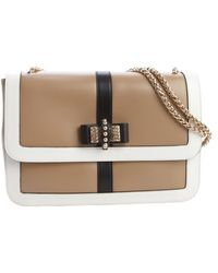 Christian Louboutin Beige and White Leather Large Sweet Charity Shoulder Bag - Lyst