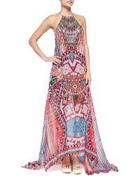 Camilla Beaded Printed Silk Maxi Coverup Dress - Lyst