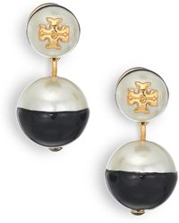 Tory Burch Evie Dipped Faux Pearl Drop Earrings black - Lyst