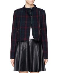 Elizabeth And James Patti Texture Check Plaid Crop Jacket - Lyst
