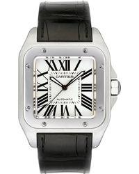 Cartier Santos 100 Stainless Steel And Leather Large Watch - For Men - Lyst
