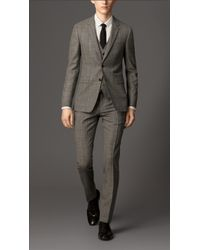 Burberry Slim Fit Check Wool Three Piece Suit - Lyst