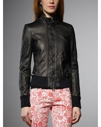 Patrizia Pepe Black Leather Jacket - Lyst