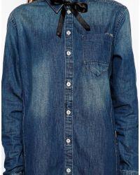 G-star Raw Denim Shirt Dress - Lyst