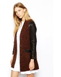Le Mont St Michel Jacket with Contrast Leather Sleeves - Lyst