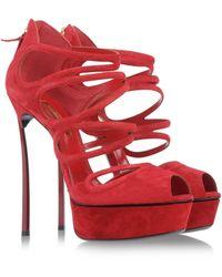 Casadei Red Sandals - Lyst