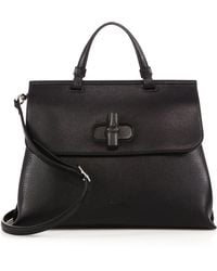 Gucci Bamboo Daily Medium Leather Top-Handle Bag black - Lyst