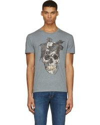 Alexander McQueen Grey and Brown Feather Skull T_shirt - Lyst