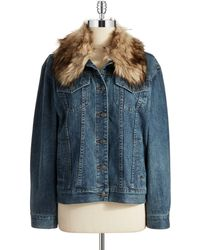 MICHAEL Michael Kors Faux Fur Accented Denim Jacket - Lyst