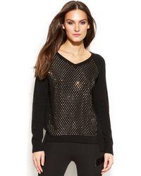 DKNY Studded V-neck Sweater - Lyst