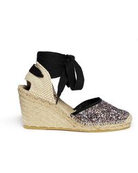 Ash Wanda Bis' Glitter Espadrille Wedge Sandals - Lyst