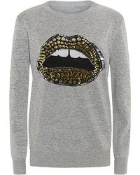 Markus Lupfer Lurex Tribal Spot Sequin Lip Sweater - Lyst
