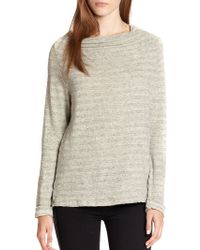 James Perse Striped Cotton Funnelneck Top - Lyst