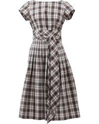 Michael Kors Madras Tie Waist Dress gray - Lyst