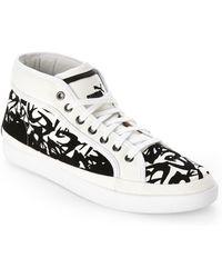 Alexander McQueen x Puma Step Mid Flock Sneakers - Lyst