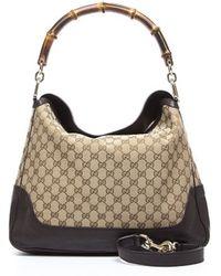 Gucci Brown Leather Beige Monogam Diana Bag - Lyst