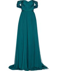 Marchesa Off-the-shoulder Silk-chiffon Gown - Lyst