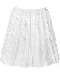 McQ by Alexander McQueen Perforated Poplin Pleat Skirt - Lyst