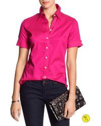 Banana Republic Factory Non-Iron Sateen Shirt pink - Lyst