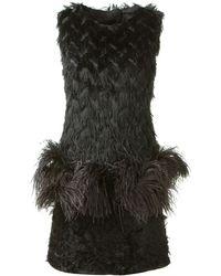 Lanvin Shift Dress in Black Cut Threads with A Flower Pattern - Lyst