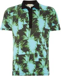 Diesel Palm Tree Printed Polo Shirt - Lyst