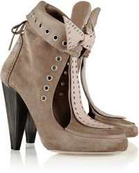 Isabel Marant Milla Cutout Suede and Leather Ankle Boots - Lyst