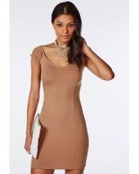 Missguided Jersey Bardot Bodycon Dress Camel - Lyst